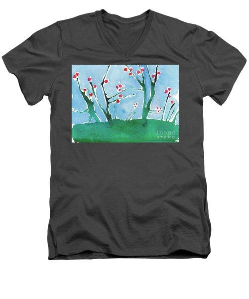 Red Berry Flowers Men's V-Neck T-Shirt