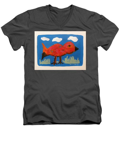 Red Bird In Grass Men's V-Neck T-Shirt