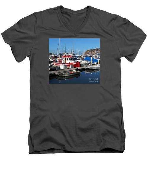 Red Boat Men's V-Neck T-Shirt by Cheryl Del Toro