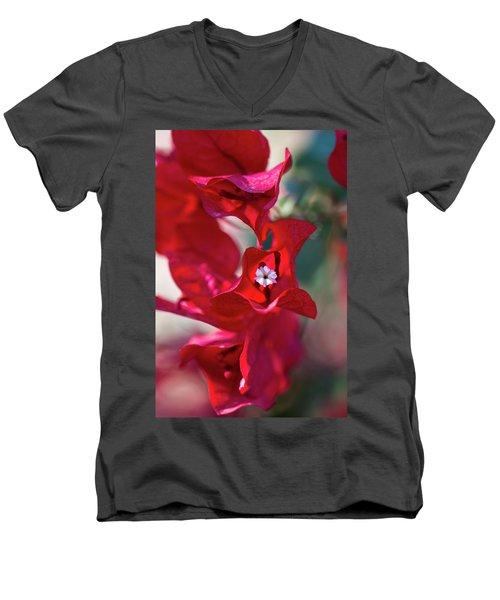 Red Bougainvillea Men's V-Neck T-Shirt