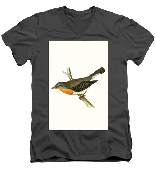 Red Breasted Flycatcher Men's V-Neck T-Shirt