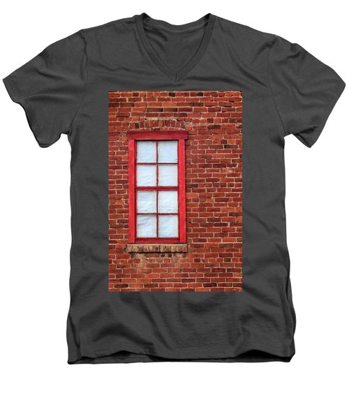 Men's V-Neck T-Shirt featuring the photograph Red Brick And Window by James Eddy