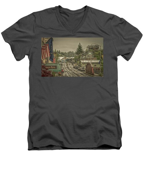 Men's V-Neck T-Shirt featuring the photograph Red Bridge Haze by Timothy Latta