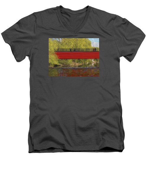 Men's V-Neck T-Shirt featuring the photograph Red Bridge by Vladimir Kholostykh