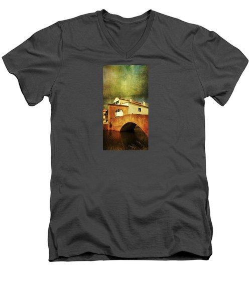 Men's V-Neck T-Shirt featuring the photograph Red Bridge With Storm Cloud by Anne Kotan
