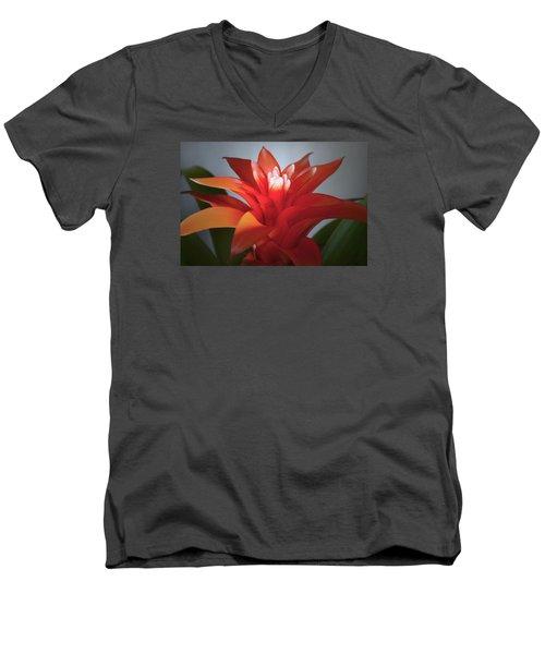 Red Bromeliad Bloom. Men's V-Neck T-Shirt by Terence Davis