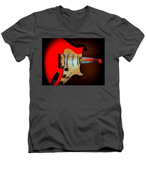 Red Burst Stratocaster Glow Neck Series Men's V-Neck T-Shirt