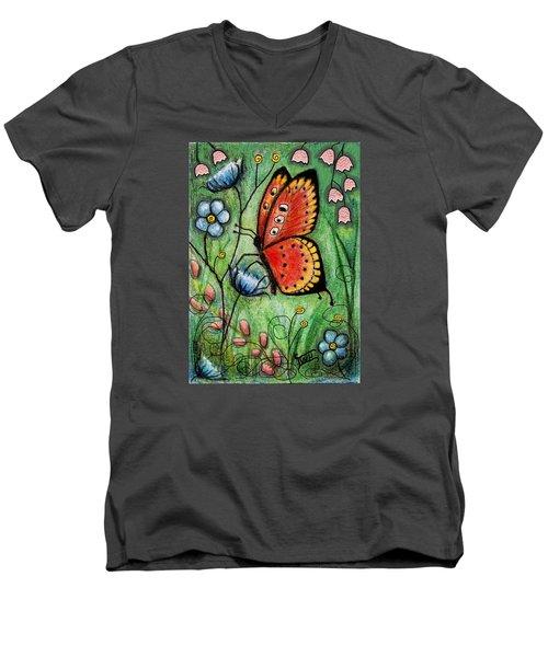 Red Butterfly Men's V-Neck T-Shirt