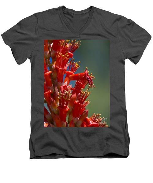Red Cactus Flower 1 Men's V-Neck T-Shirt