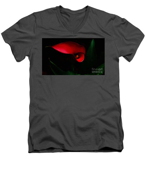 Men's V-Neck T-Shirt featuring the painting Red Calla Lilly by Debra Crank