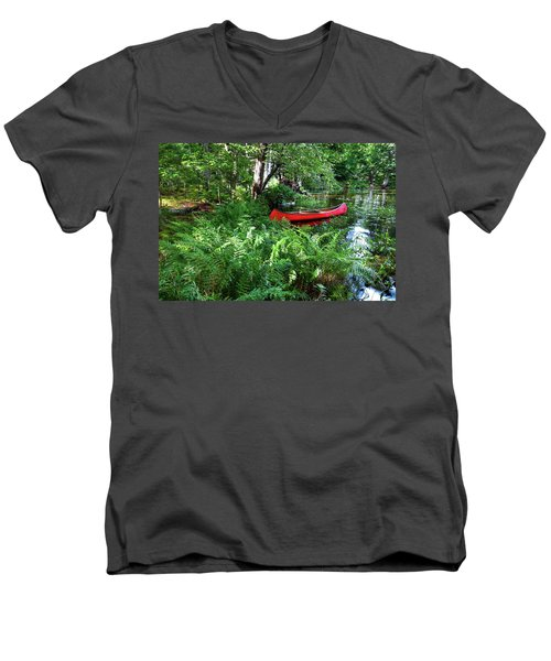 Red Canoe In The Adk Men's V-Neck T-Shirt by David Patterson