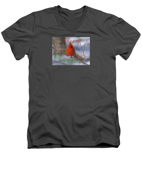 Red Cardinal Christmas Men's V-Neck T-Shirt by Mary Armstrong