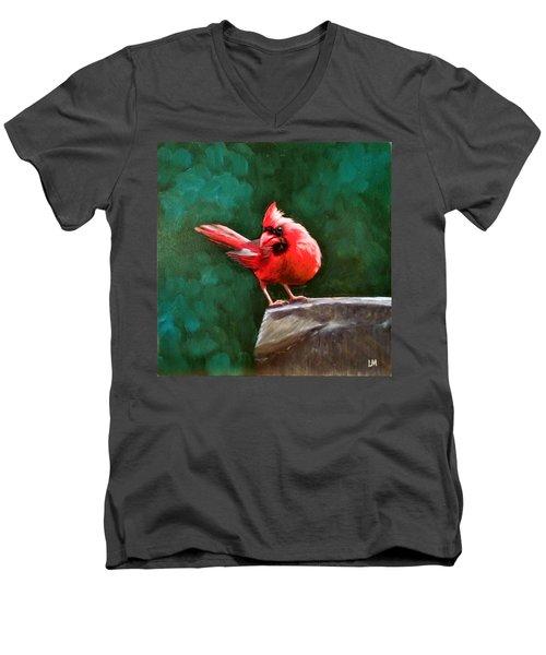 Red Cardinal Men's V-Neck T-Shirt