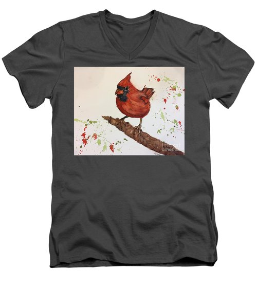 Red Cardinal Men's V-Neck T-Shirt