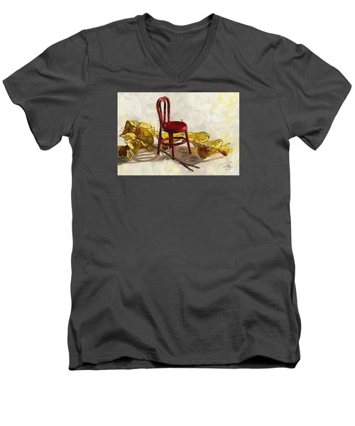 Red Chair And Yellow Leaves Men's V-Neck T-Shirt by Debra Baldwin