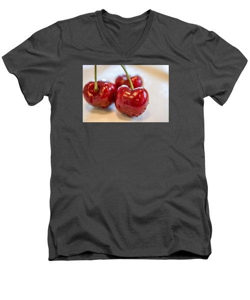 Red Cherries Men's V-Neck T-Shirt by Sabine Edrissi