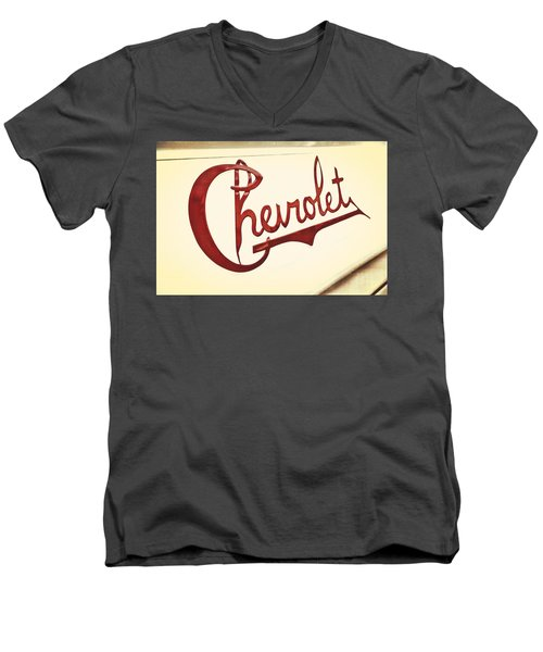 Red Chevy Men's V-Neck T-Shirt by Caitlyn  Grasso