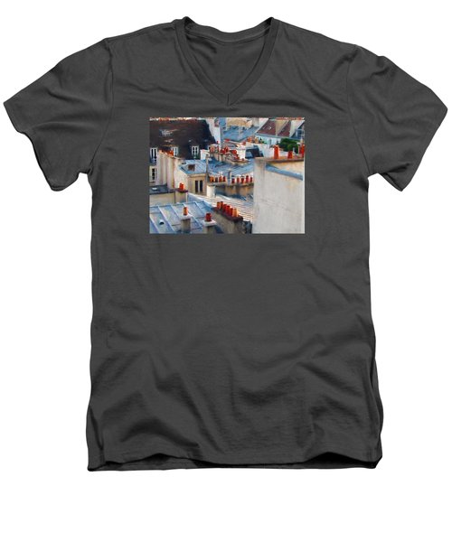 Men's V-Neck T-Shirt featuring the photograph Red Chimneys by John Rivera