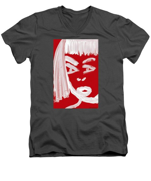 Men's V-Neck T-Shirt featuring the painting Red Chinese Girl by Don Koester