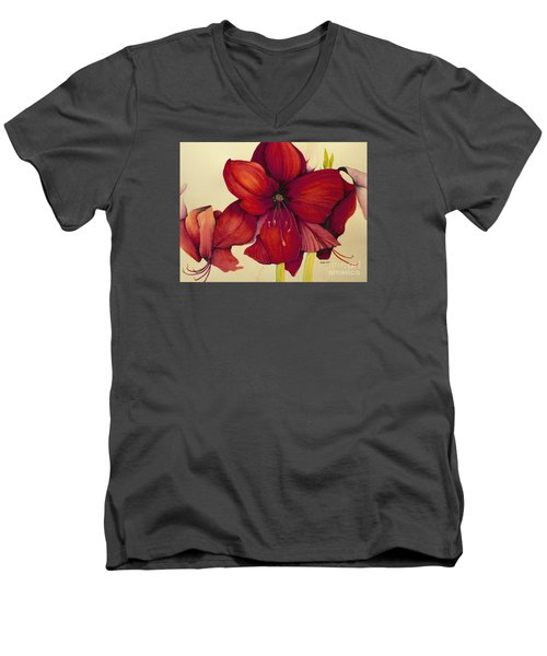 Men's V-Neck T-Shirt featuring the painting Red Christmas Amaryllis by Rachel Lowry