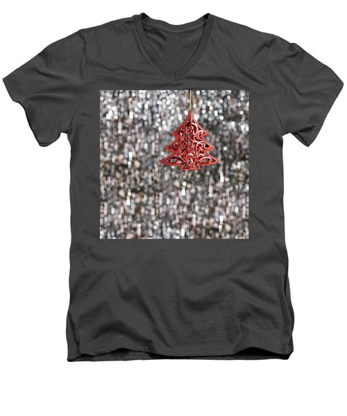 Men's V-Neck T-Shirt featuring the photograph Red Christmas Tree by Ulrich Schade