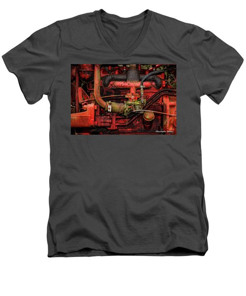 Men's V-Neck T-Shirt featuring the photograph Red by Christopher Holmes