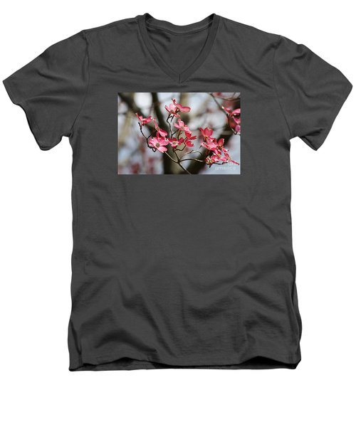 Men's V-Neck T-Shirt featuring the photograph Red Cloud Dogwood 2012410_90a by Tina Hopkins