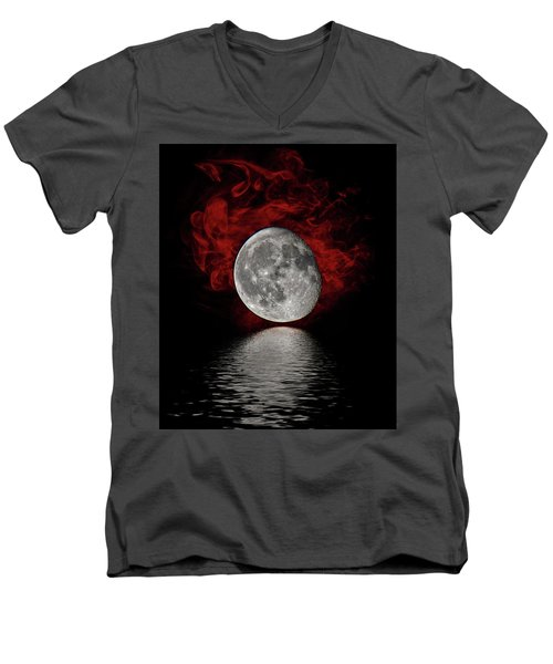 Red Cloud With Moon Over Water Men's V-Neck T-Shirt