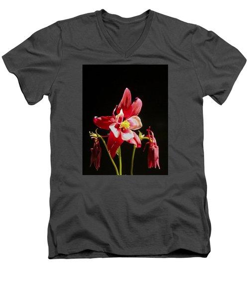 Red Columbine Flower Men's V-Neck T-Shirt by Christina Lihani