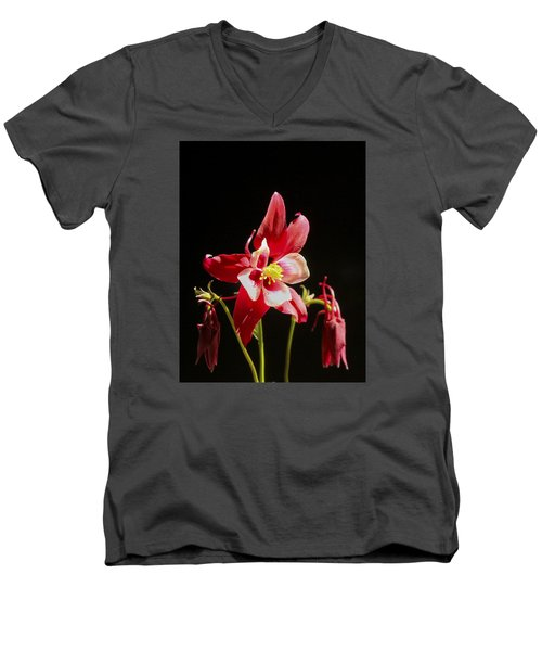 Red Columbine Flower Men's V-Neck T-Shirt