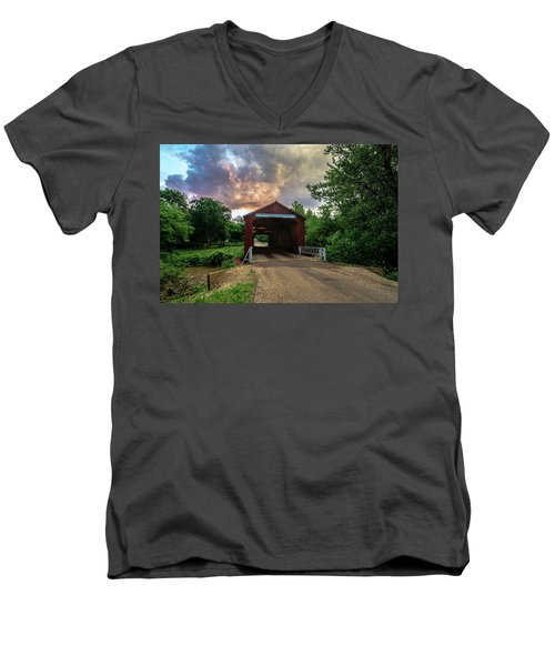 Red Coverd Bridge With Pretty Sky  Men's V-Neck T-Shirt