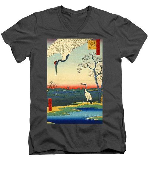 Red Crowned Cranes 1857 Men's V-Neck T-Shirt