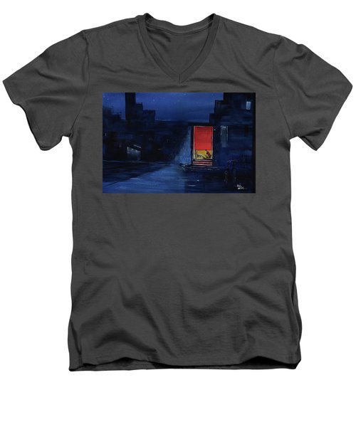 Men's V-Neck T-Shirt featuring the painting Red Curtain by Anil Nene