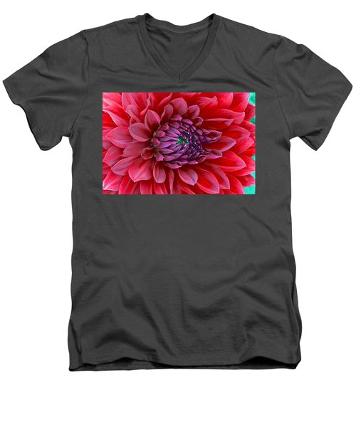 Men's V-Neck T-Shirt featuring the photograph Red Dalia Up Close by James Steele