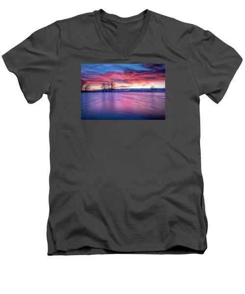 Red Dawn Men's V-Neck T-Shirt by Fiskr Larsen