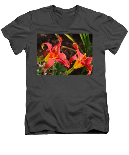 Red Daylilies Men's V-Neck T-Shirt by Rebecca Overton