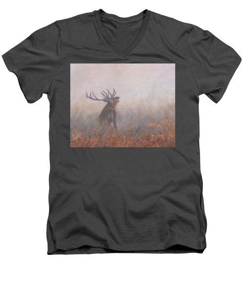 Men's V-Neck T-Shirt featuring the painting Red Deer Stag Early Morning by David Stribbling