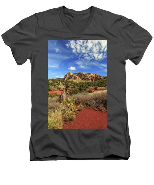 Men's V-Neck T-Shirt featuring the photograph Red Dirt And Cactus In Sedona by James Eddy