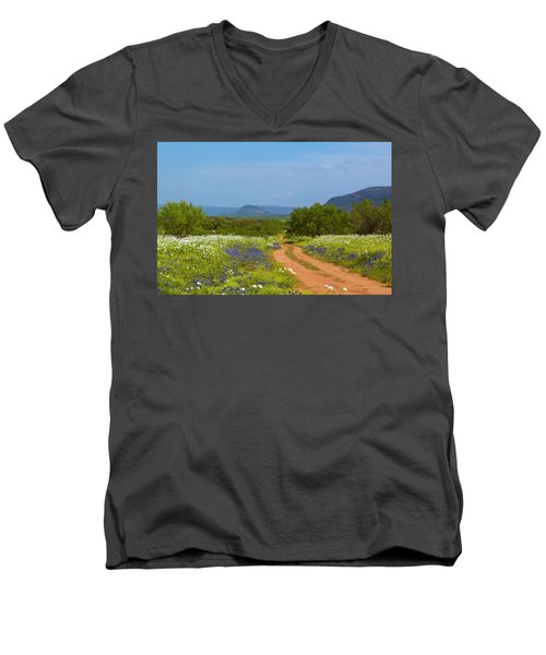 Red Dirt Road With Wild Flowers Men's V-Neck T-Shirt