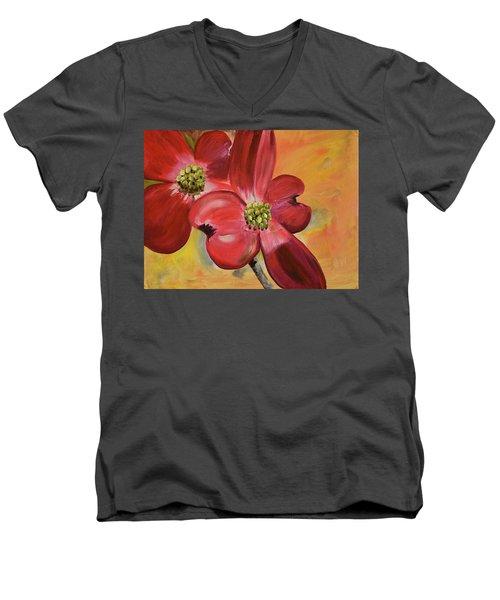 Red Dogwood - Canvas Wine Art Men's V-Neck T-Shirt