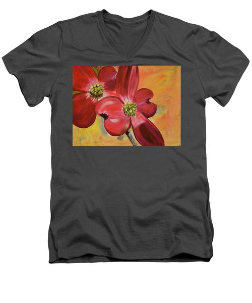 Red Dogwood - Canvas Wine Art Men's V-Neck T-Shirt