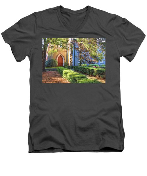 Men's V-Neck T-Shirt featuring the photograph Red Door Church by Kim Hojnacki