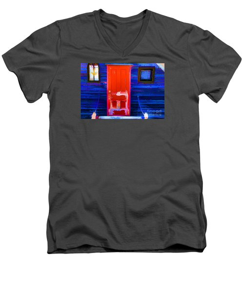 Men's V-Neck T-Shirt featuring the photograph Red Door Harbor by Rick Bragan
