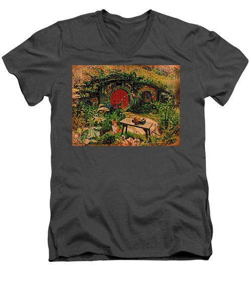 Men's V-Neck T-Shirt featuring the digital art Red Door Hobbit House With Corgi by Kathy Kelly