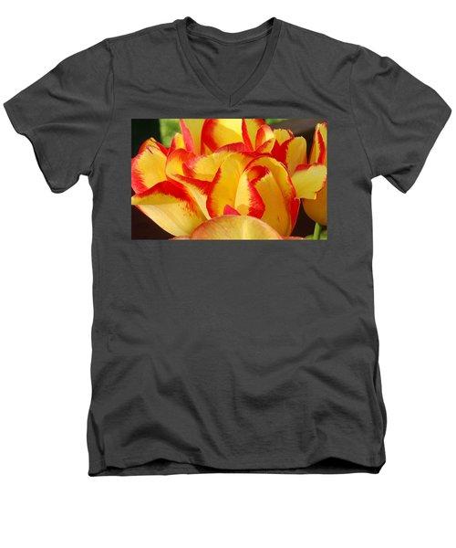 Men's V-Neck T-Shirt featuring the photograph Red-edged Tulips by Karen Molenaar Terrell