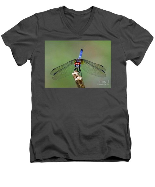 Men's V-Neck T-Shirt featuring the photograph Red Eyed Dragonfly by Myrna Bradshaw
