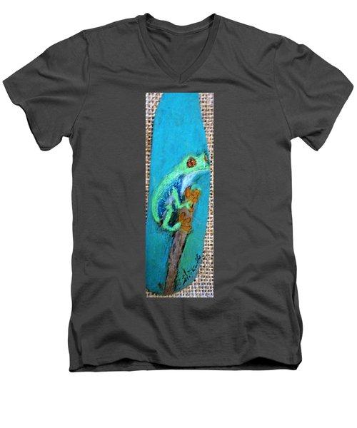 Red-eyed Tree Frog Men's V-Neck T-Shirt by Ann Michelle Swadener