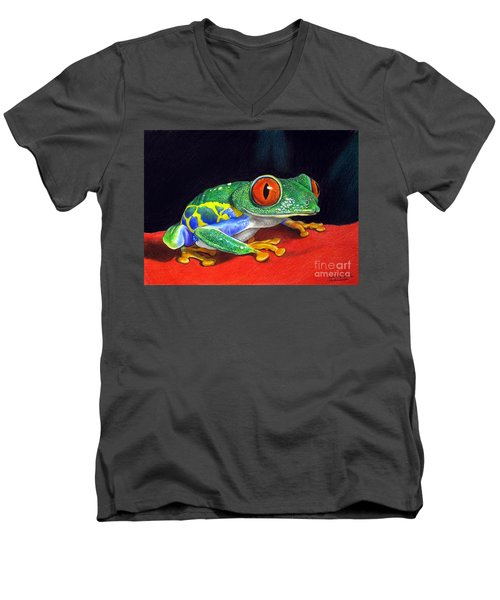 Men's V-Neck T-Shirt featuring the painting Red Eyed Tree Frog by Christopher Shellhammer