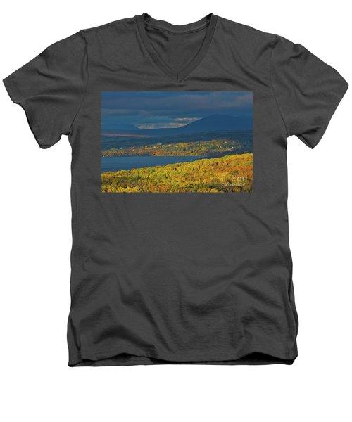 Red Farm House In Evening Light Men's V-Neck T-Shirt by Alana Ranney