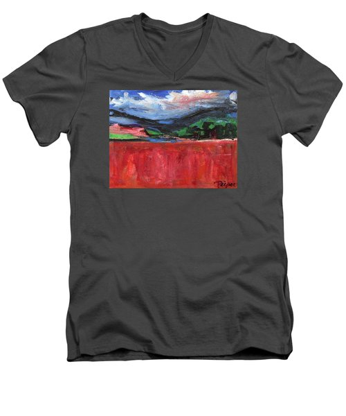 Red Field Landscape Men's V-Neck T-Shirt